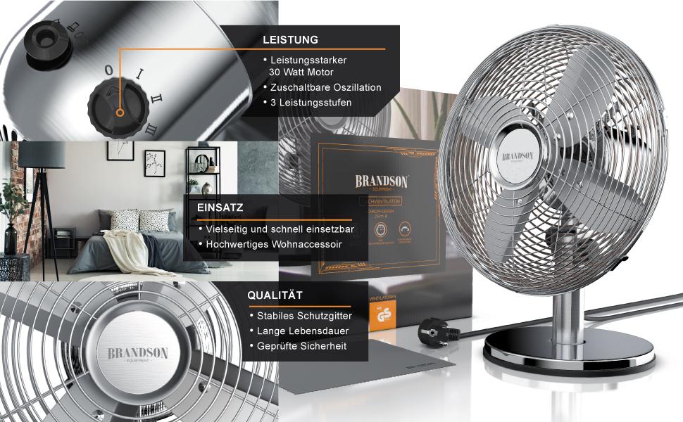 Brandson Equipment Ventilateur de table Chromé