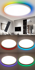 DLLT Dimmable LED Flush Mount Ceiling Light Fixture with Remote Round Ceiling Lighting Living Room