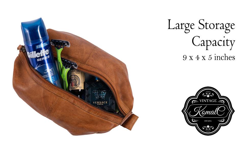 Genuine Unisex Vintage Vanity Dopp Kit - Travel Toiletry Bag Shaving for Men and Women
