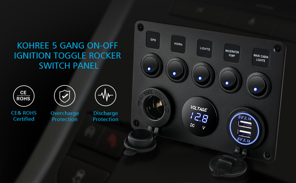 Waterproof Marine Boat Rocker Switch Panel Gang Dual USB