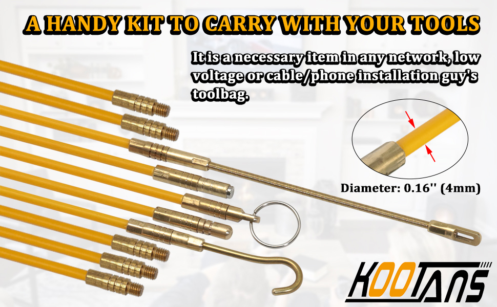 Electrical Fish Wire Cable Rods for Running Wire Cable Pull Push 1//2//5 Magnet Fish Tape Kits Electrical Wire Cable Pulling with 5 Different Attachments in a Carrying Case 1Pcs