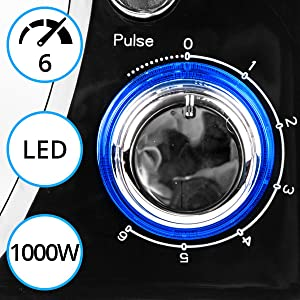 power, 1000, 1000w, watts, led, light, dial, control, on, off, 6, six, speeds, pulse, function, turn