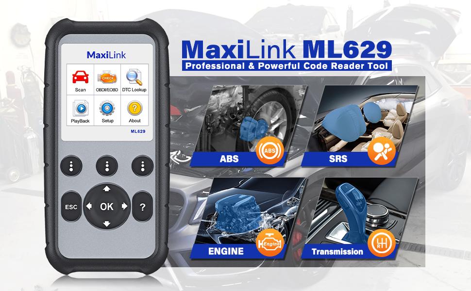 Autel ML629 OBD2 Scanner Diagnostic Scan Tool ABS SRS Engine Transmission Banner