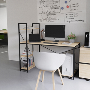 55 Inch Computer Desk With Shelves