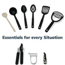 Kitchen Utensils Spatula Masher Can Opener corkscrew peeler serving spoon turner