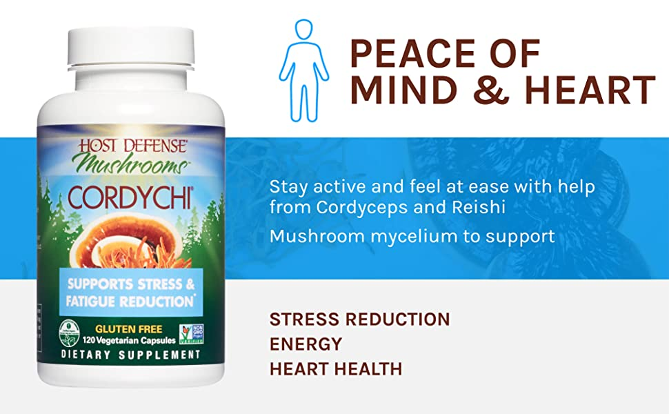 Peace of Mind & Heart; Stay active and feel at ease with help from Cordyceps and Reishi