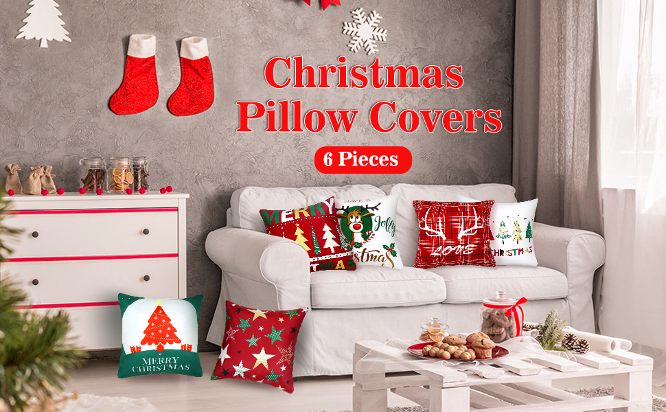 Boao 6 Pieces Christmas Pillow Cover Merry Christmas Throw Cushion Covers Tree Reindeer Star Pillow Case for Party Home Decoration, 18 x 18 Inch (Set ...