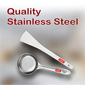 Stainless Steel Perfect Dosa Making Spoon/Ladle Set of 2 Pcs Turner,Short Pour Ladle with Flat Base