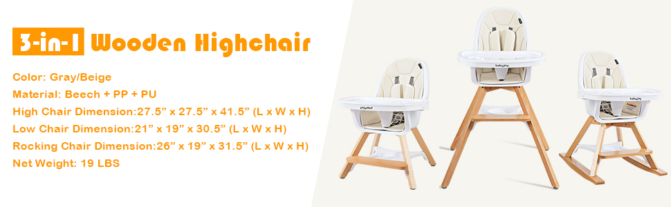 Beige Baby Eat /& Grow Convertible Wooden High Chair//Rocking Chair//Booster Seat//Toddler Chair BABY JOY 4 in 1 High Chair 5-Point Seat Belt /& PU Cushion Infant Dining Chairs w//Double Removable Tray