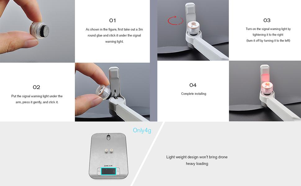 Mavic Mini 2 flashing lights installation process