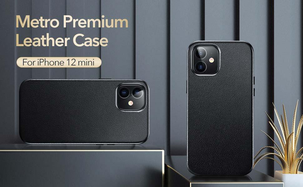 ESR Leather Case for iPhone 2020 5.4-Inch Metro Premium Leather Series - Black