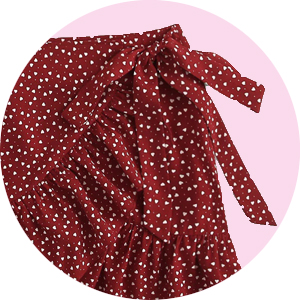 Two Piece Ruffle Trim Cami Crop Top and Wrap Skirt Set