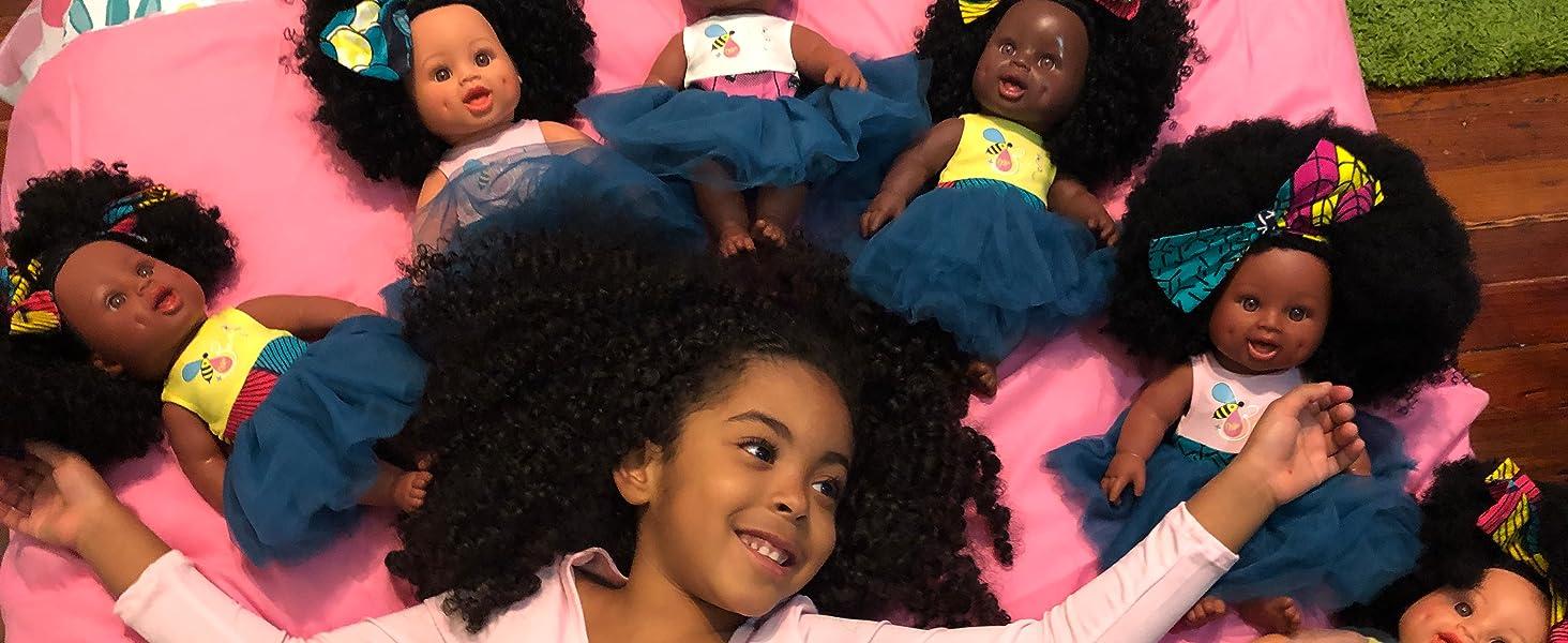 black doll, latino doll, hispanic doll, biracial doll, african american doll, afro doll, curly doll