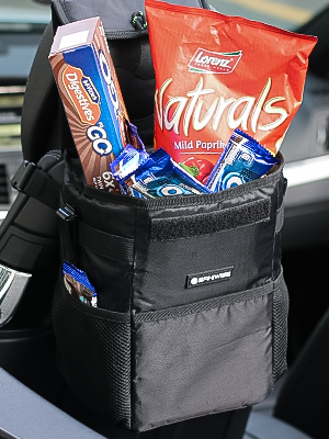 Saniwise Waterproof and Collapsible Car Trash Can With Lid and Pockets