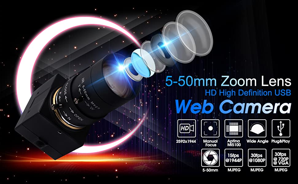 5MP USB Webcam 5-50 zoom focus mini usb camera pc desktop usb with camera