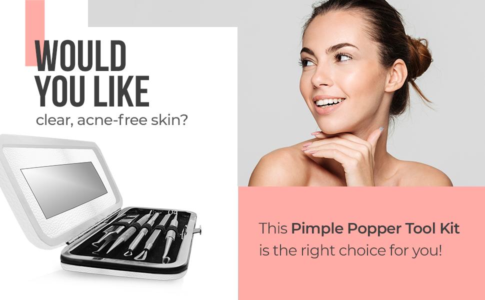 pimple popper tool kit, blackhead remover, whitehead extractor, milia remover, acne tool kit