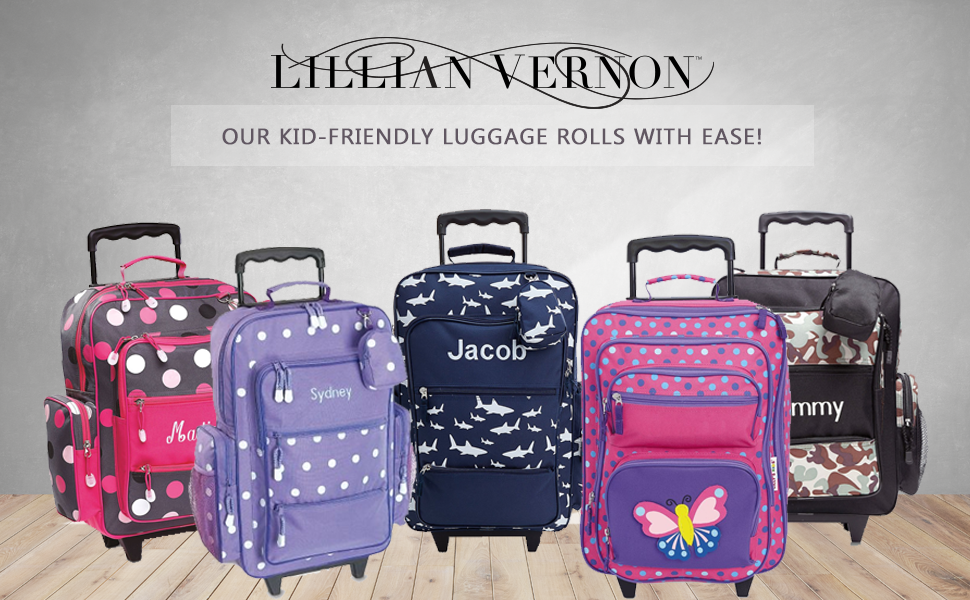 "Leopard Spots Design 5/"" x 12 x 20H Personalized Rolling Luggage for Kids By Lillian Vernon 5/"" x 12 x 20H Z814485"