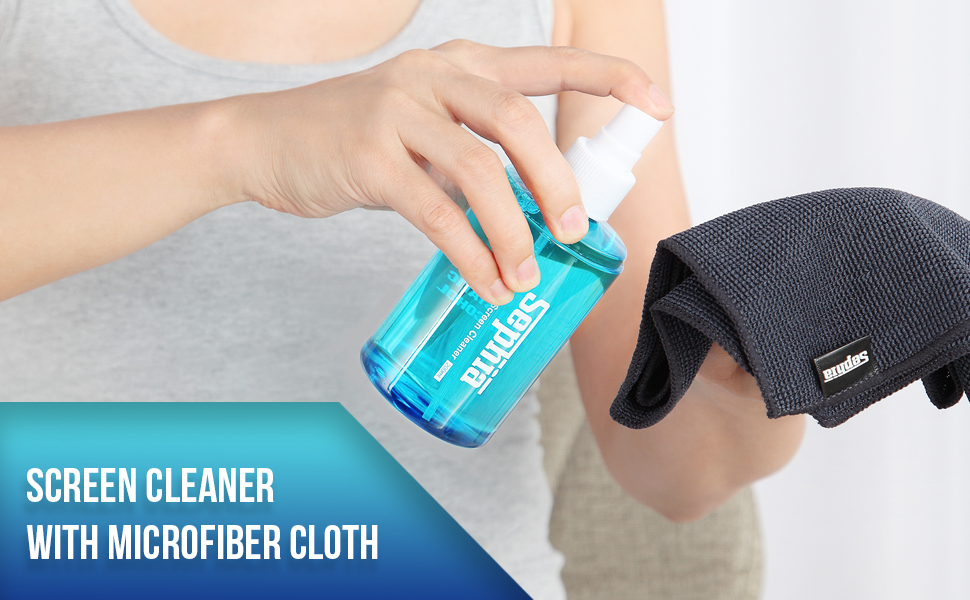 sephia 200ml screen cleaner kit with brush and microfiber cloth