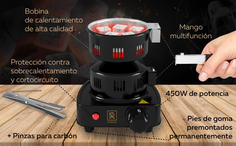 M. ROSENFELD Hornillo Eléctrico Cachimba Shisha – Cocina Hornillo Electrico con Rejilla – Fire Tower 3.0 – Encendedor Carbon Shisha Bajo Consumo– ...