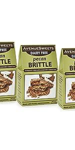 avenue sweets pecan brittle dairy free vegan pecan peanut brittle candy plant based vegan candy