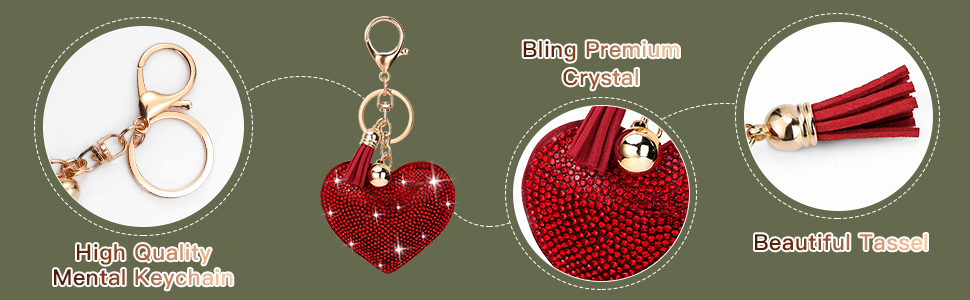 Glitterflake Love Heart key rings