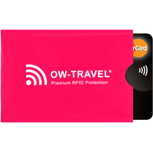 Bank Card in card blocker. Credit card holder rfid blocking RFID card protector sleeve pinched open