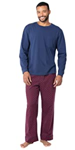 Man in blue and red pajamas white background