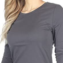 A scoop neckline and shaped body that hugs and loosens shown on Topstitch Under Scrub Tee.