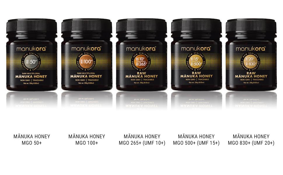 Manukora manuka honey, MGO 50+, MGO 100+, UMF 10+, UMF 15+, UMF 20+