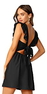 Cute Tie Back Ruffle Strap A Line Fit and Flare Flowy Short Dress