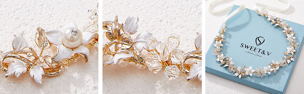SWEETV Floral-Leaf Wedding Headpieces for Bride