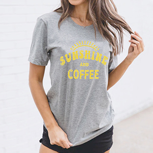 Sunshine and Coffee Tank Top Funny Cute Workout Fitness Tee Tshirt T-shirt Womens