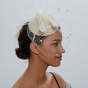 FADVES Fascinator Hats for Women Pillbox Hat