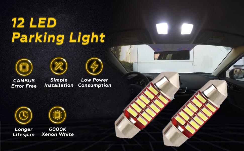 Universal Dome LED Parking Light COB 12 SMD Super Bright White Interior License Plate Festoon Lamp