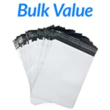 500 Poly Mailers, White Shipping Bags, Bulk Value
