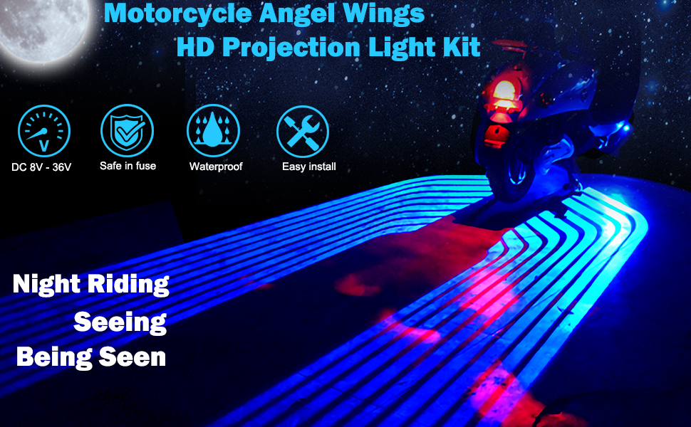 Motorcycle angel wings HD projector light kits