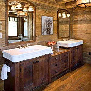 unduly curious staging bathroom decor rustic western north american design details