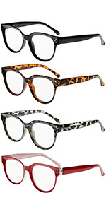 Reading Glasses 4 Pack Spring Hinge Comfort Readers