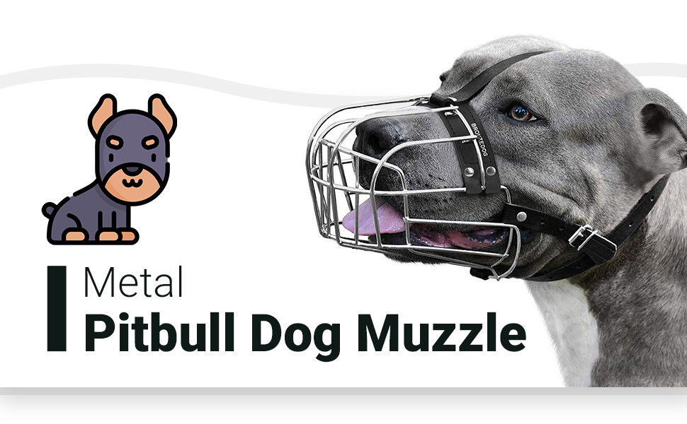pibull metal dog muzzle large durable sturdy leather adjustable strap amstaff wire basketmask