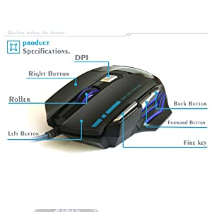 DPI LED color gaming mouse
