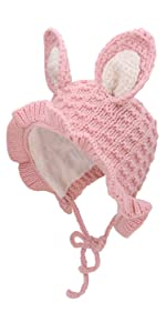 Toddler Kids Girls Winter Hats With Rabbit Ears 1-3T/5 Colors