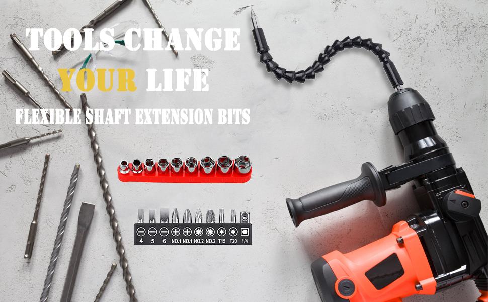 13 mm y 10pcs Bits Owoda Extensor Flexible para Taladro,Eje Flexible,105 /°Extensi/ón /Ángulo,1//4 de pulgada Broca de /Ángulo Recto,con Manguito Hexagonal 5 mm