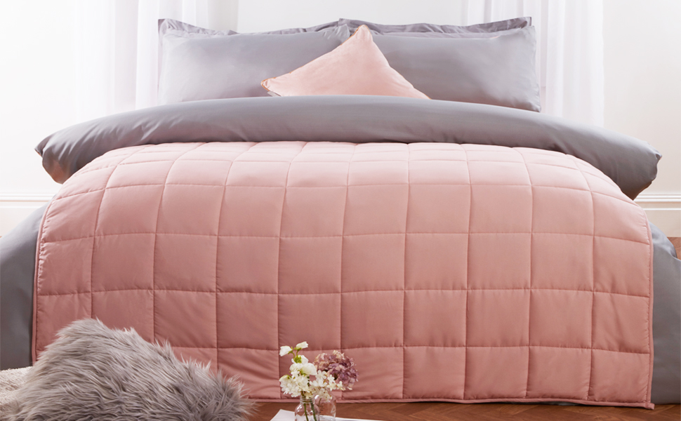 Weighted Blanket Bed Blush Pink Blush Grey