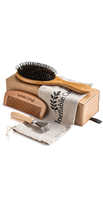 Boar Bristle Hair Brush and Comb