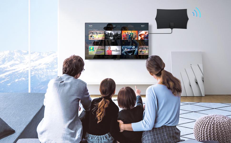 Antena TV Interior, NinkBox Antena TV HDTV Digital con Amplificador de Señal Inteligente, Alcance de 120 Millas, Soporte Canales de 1080P 4K Gratis y ...