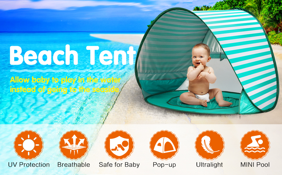 Pop up Beach Tent Outdoor Automatic UV Protection baby Portable Shade Sun Shelter Canopy Tent for Family Garden Camping Picnic