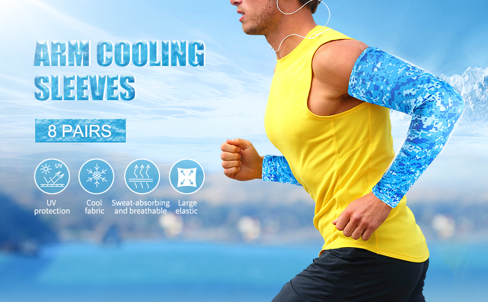 Details about  /5 Pairs Cooling Ice Arm Sleeves Sun UV Protection Outdoor Running Sport