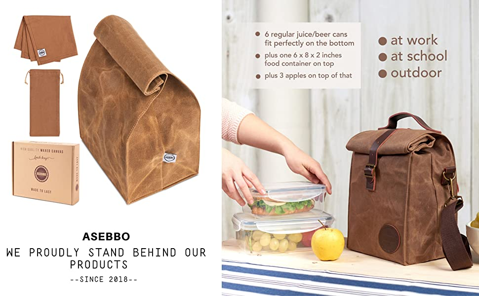 0f69937fd3be Insulated Waxed Canvas Lunch Bag by ASEBBO, Lunch Box for Women, Men ...