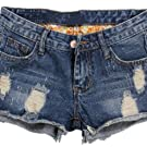 Thrivqyaf Womens Vintage Fringe Denim Shorts Jeans Vary Styles