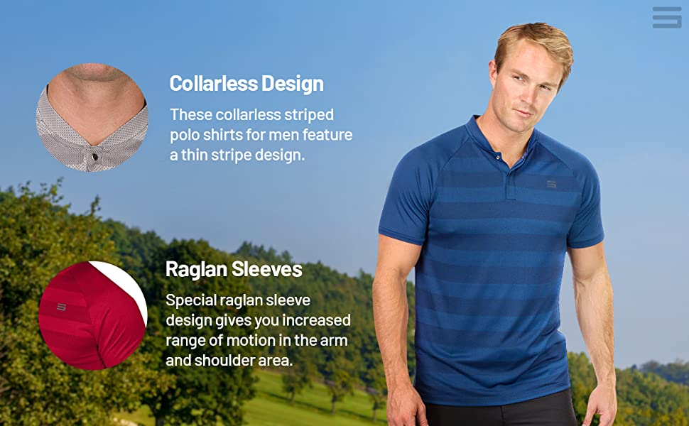 Clean and sleek looking collarless design with raglan sleeves that allow for full range of motion.